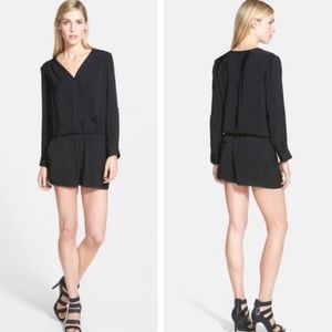 Trouve Surplice Long Sleeve Romper Black XS